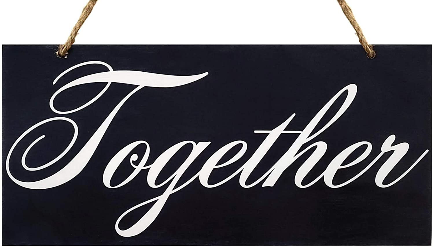 JennyGems | Together | Wood Script Sign | Scripted Word Art | Statement Piece for Interior Decorating | Home Decor and Design | Photo Shoot Prop | Inspirational Wood Signs | Made in USA - Color: Black