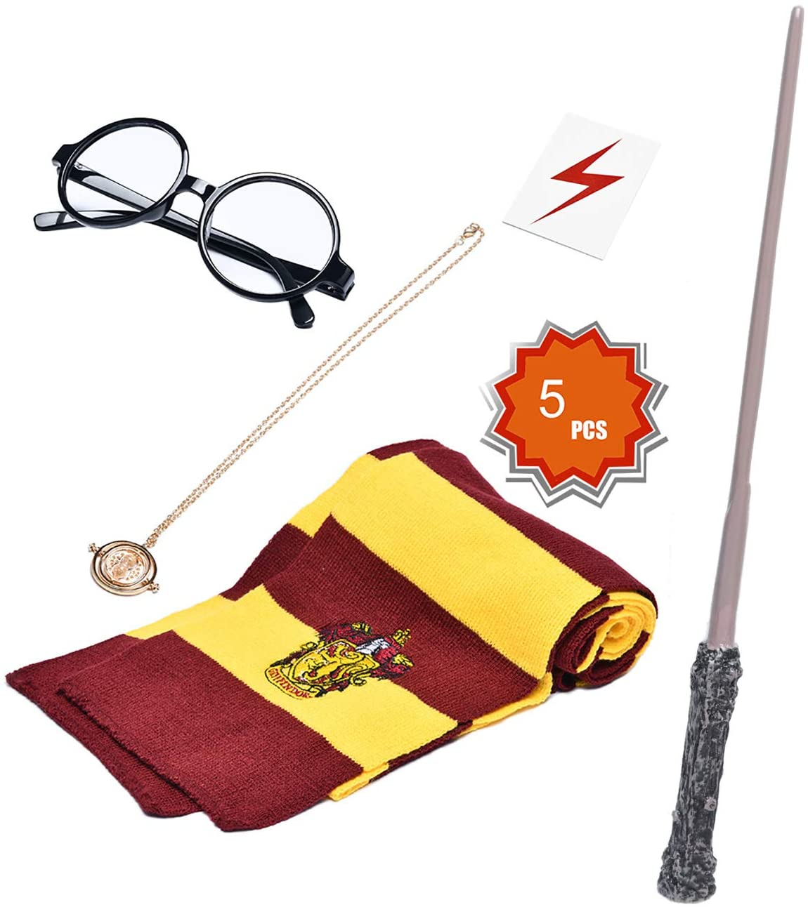 KESOCORAY Cosplay Costume Props Accessories Gifts for Harry Birthday Party Magic Wand Eyeglass Frame Knit Scarf Necklace Set-A Plus