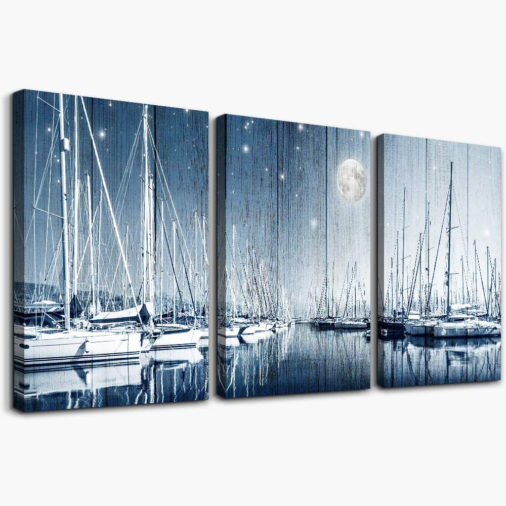 Canvas Wall Art for living room bathroom Blue Seascape Ship Wall Decor for bedroom kitchen wall decoration pictures artwork 3 Pieces framed Modern Home decorations office Abstract paintings