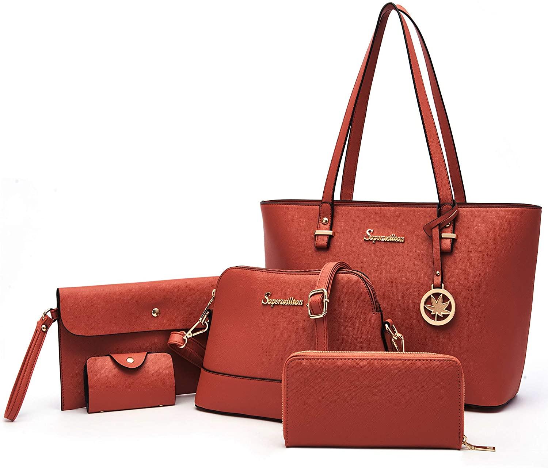 Soperwillton Handbag for Women Shoulder Bags Satchel Tote Bag 5pcs Purse Set
