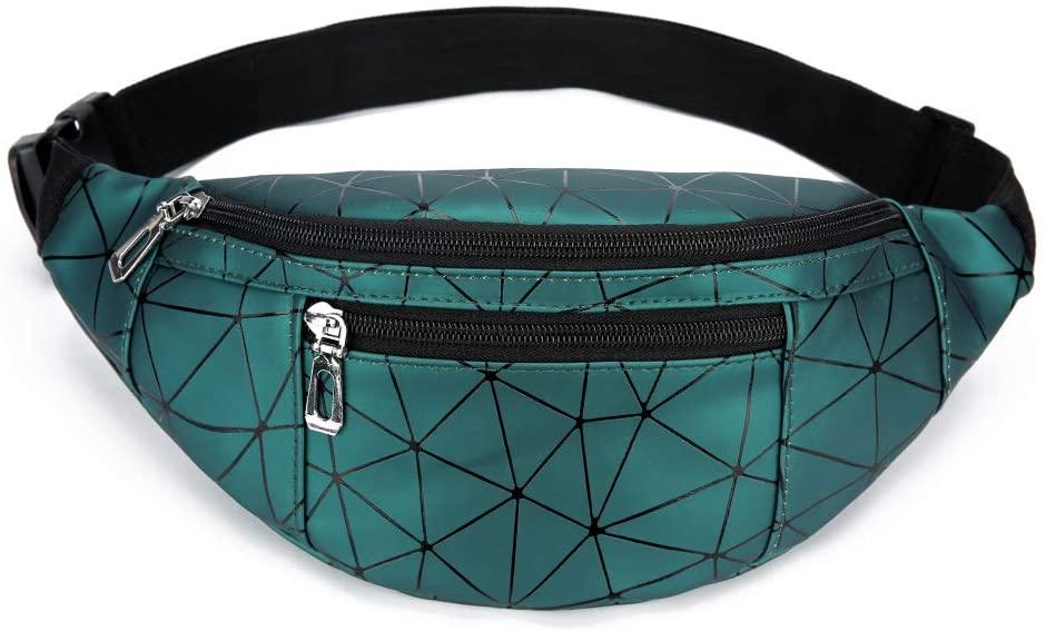 YUNGHE Waist Bag for Women & Men Holographic Fanny Pack Bum Bag with Adjustable Belt.