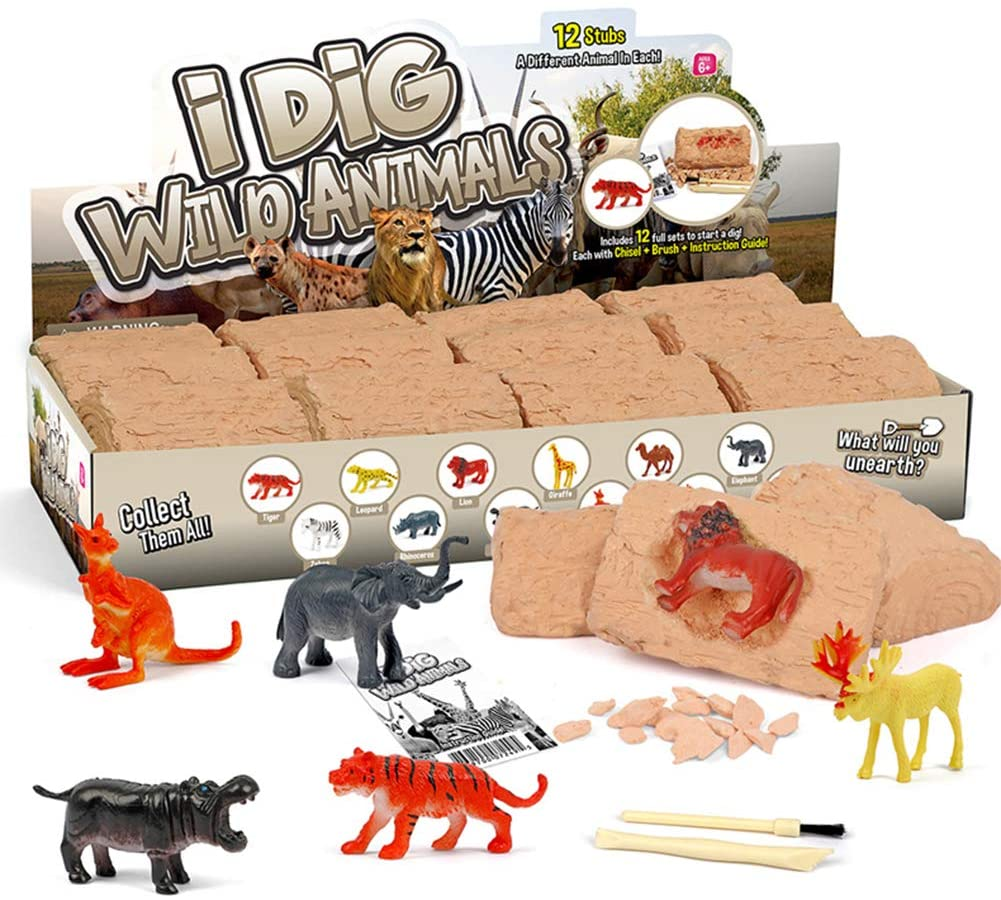 ShellKingdom Wild Animal Dig Kit - 12 Wild Animal Dig Toy with Mining Excavation Tool Sets, STEM Toy for Kids Party Activity On Christmas/Thanksgiving/Birthday/Easter