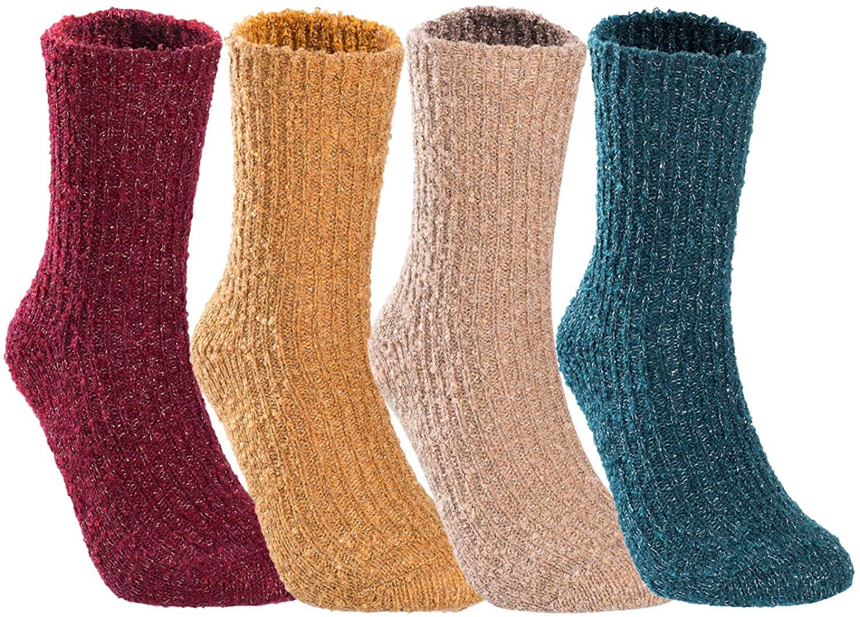 Lian LifeStyle Perfect Fit Womens Wool Crew Socks L1878 Size 6-9