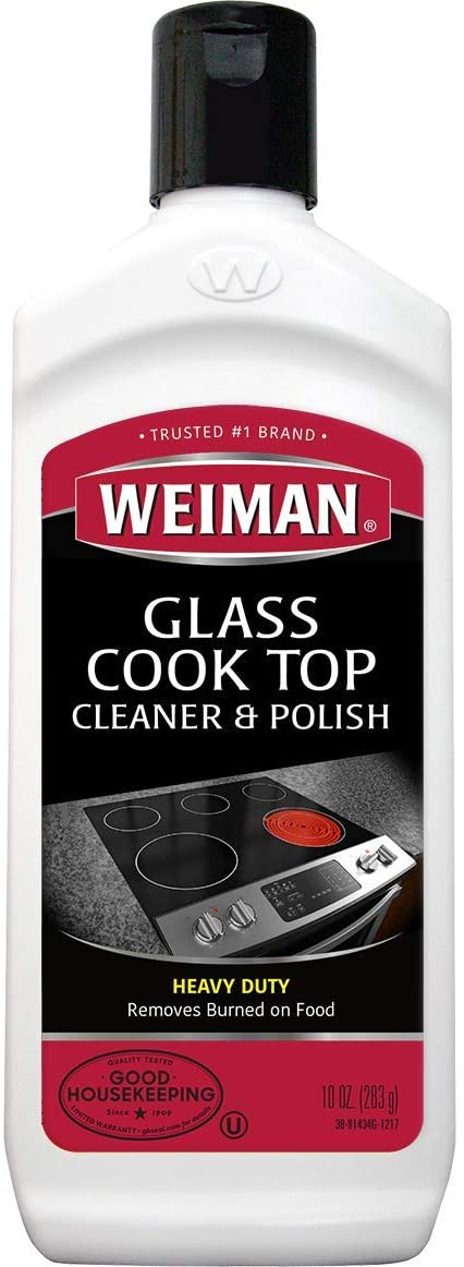Weiman Glass Cooktop Heavy Duty Cleaner & Polish - Shines and Protects Glass/Ceramic Smooth Top Ranges with its Gentle Formula - 10 Oz., Clear