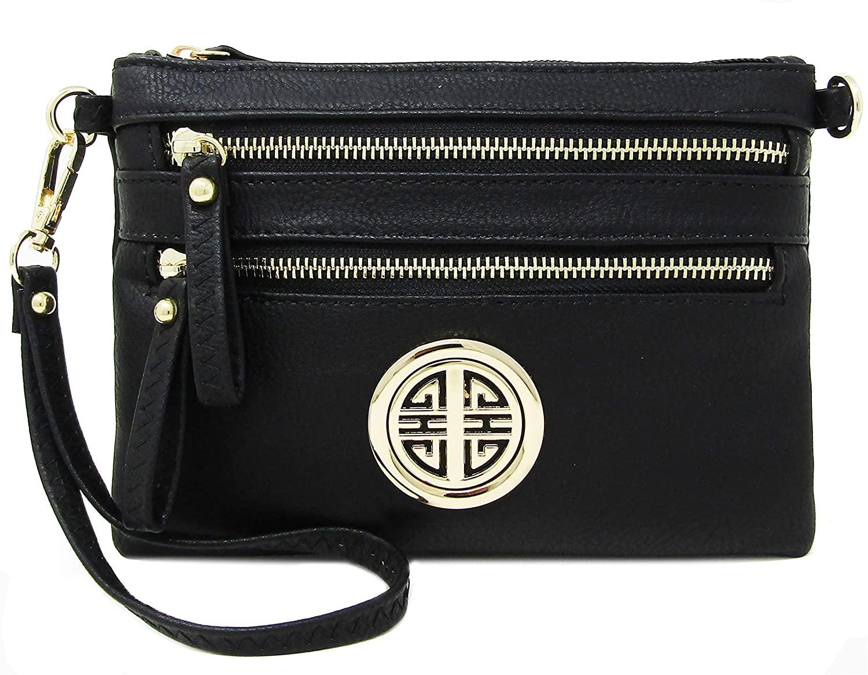 Solene Women's Detachable Wristlet Crossbody Bag With Multi Zipper Pockets