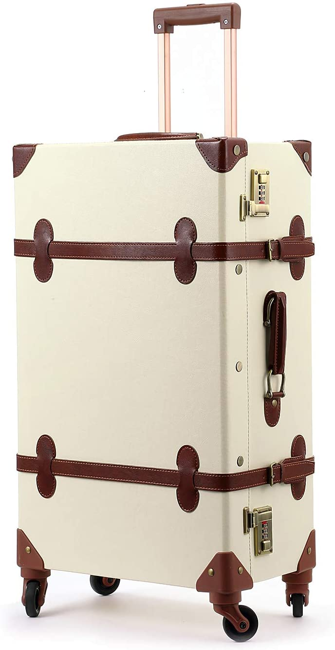 Unitravel Vintage Women Suitcase 26 inch Lightweight Retro Spinner Luggage with Combination Lock (Ivory)