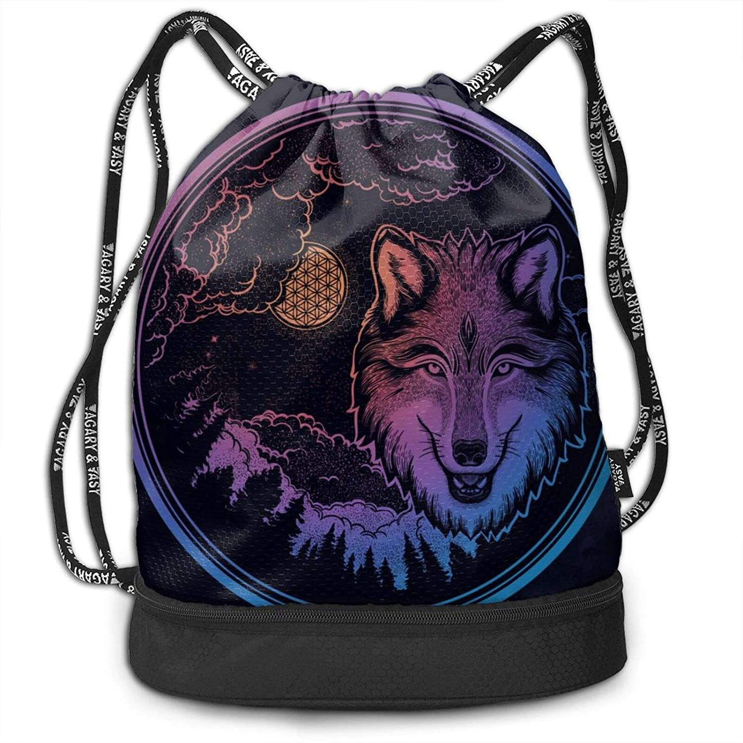 D-WOLVES Graphic Drawstring Bags Basketball Bulk Large Size Drawstring Backpack With Zipper Compartment Cinch Fashion Bags With Pattern Dreamy Wolf Mountain Landscape
