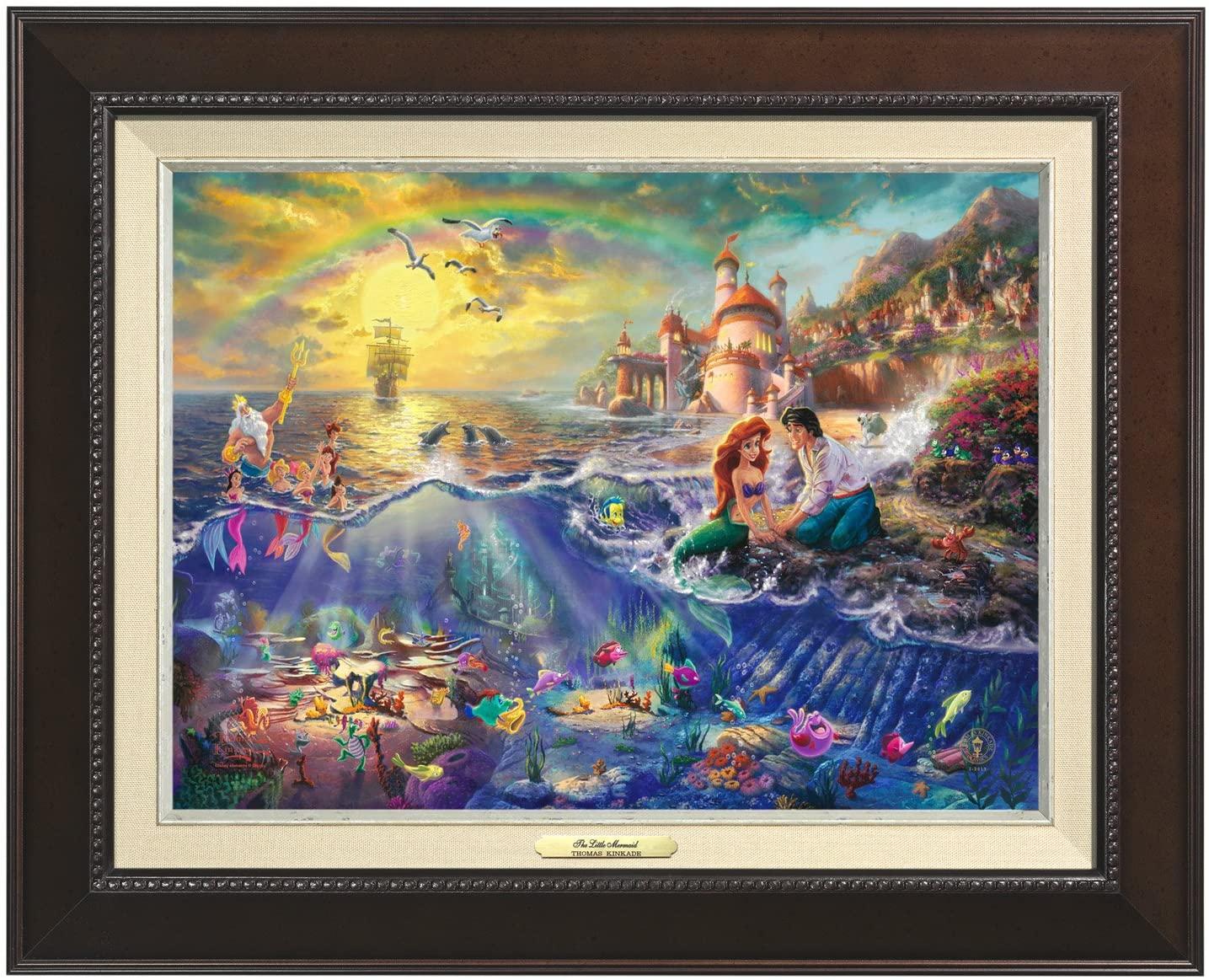 Thomas Kinkade Canvas Classic Little Mermaid - 12 x 16 - Espresso Frame - 60994