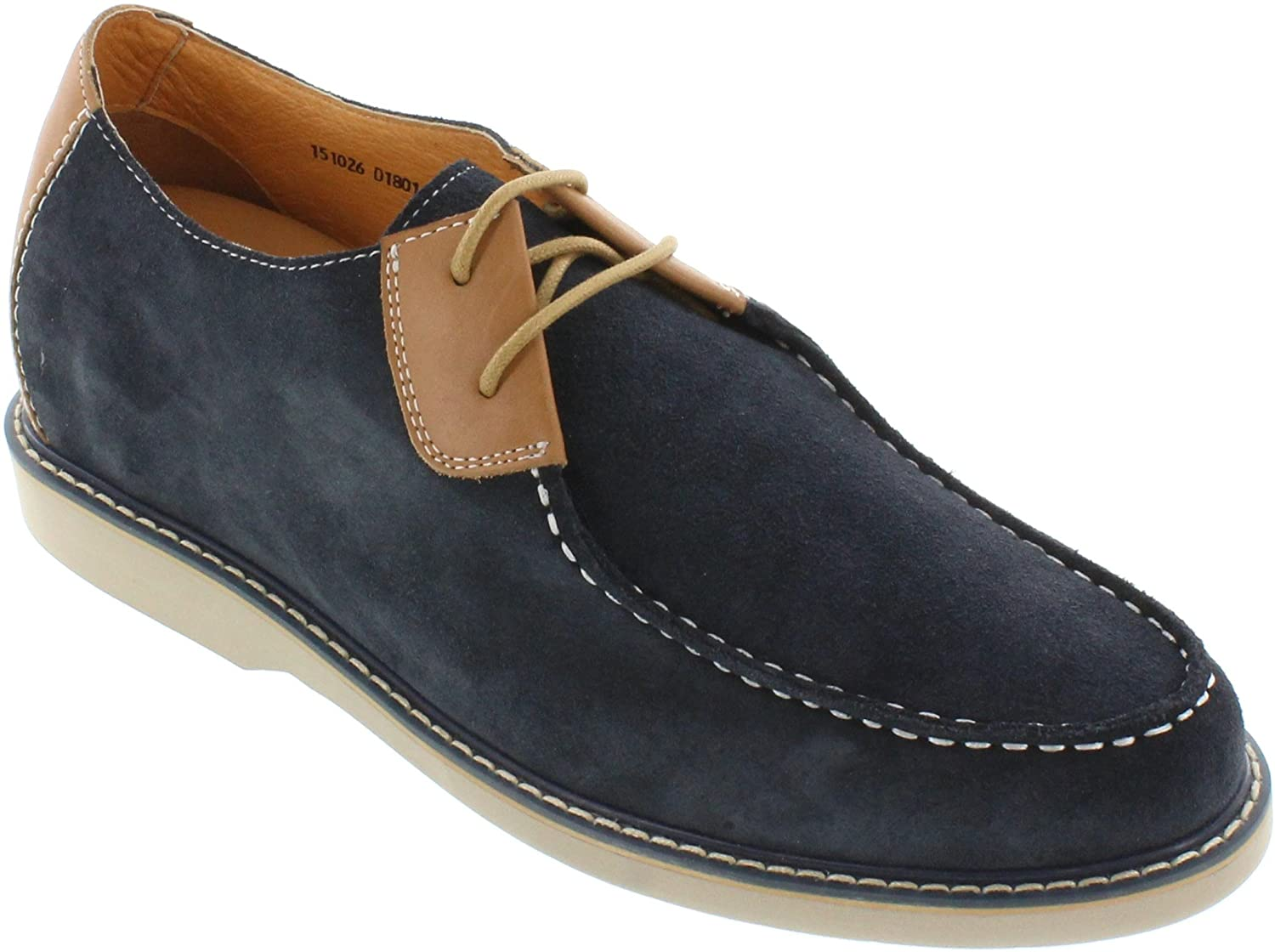 TOTO Men's Invisible Height Increasing Elevator Shoes - Nubuck Navy/Tan Leather Lace-up Lightweight Casual Shoes - 2.4 Inches Taller - D18011