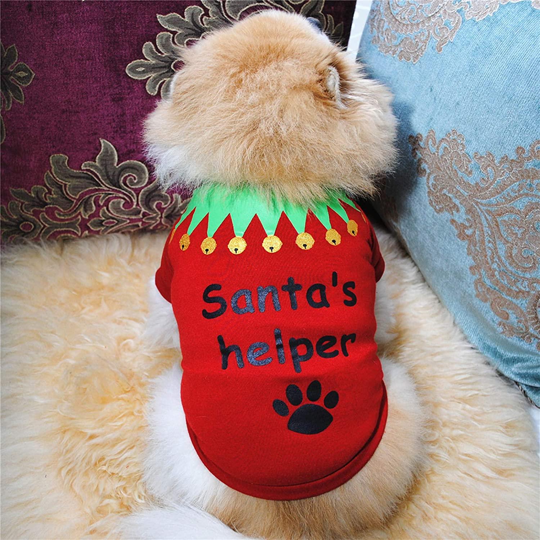 SALE & CLEARANCE Cat Dog Christmas Santa Winter Jacket Coat, Pet Dog Puppy Xmas Warm Dog Apparel Winter Clothes Dog Cozy Jacket for Small Dog Medium Dog Cat (Red, S)