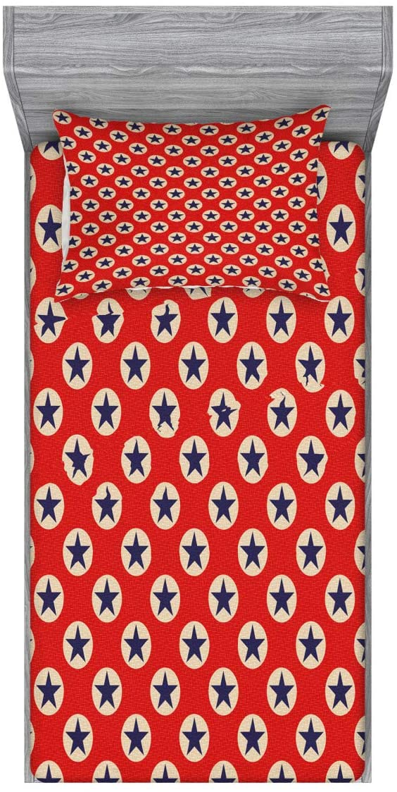 Ambesonne Prehistoric Country Fitted Sheet & Pillow Sham Set, Star Big Dots Retro American Flag Inspiration Art, Decorative Printed 2 Piece Bedding Decor Set, Twin, Scarlet Navy Blue Cream
