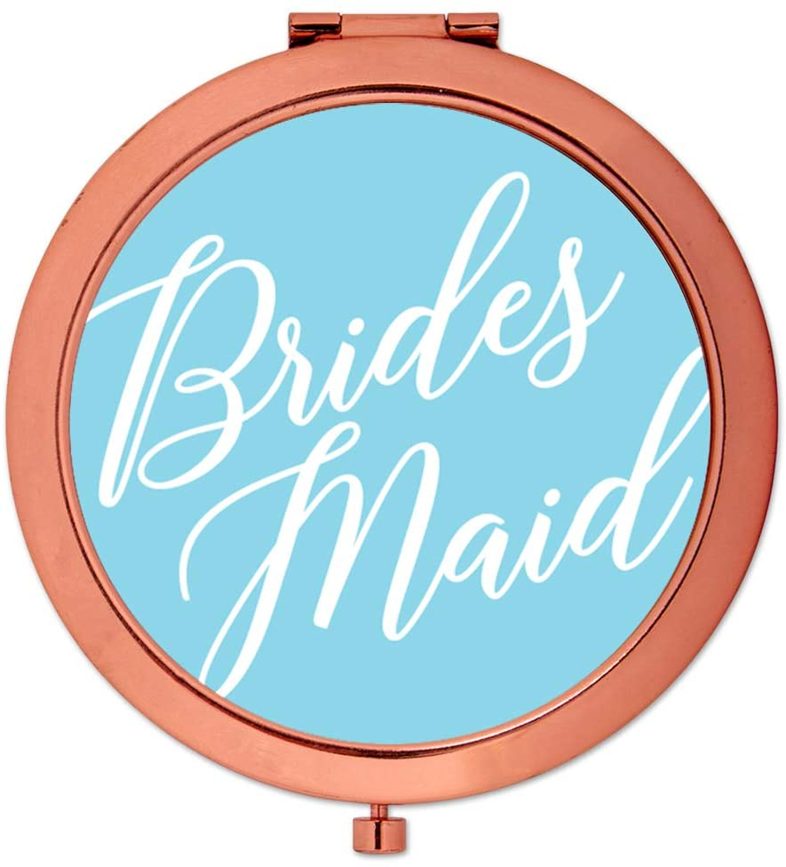 Andaz Press Rose Gold Compact Mirror Bridesmaid Wedding Gift, Light Baby Blue, 1-Pack, Bachelorette Bridal Shower Wedding Party Gifts