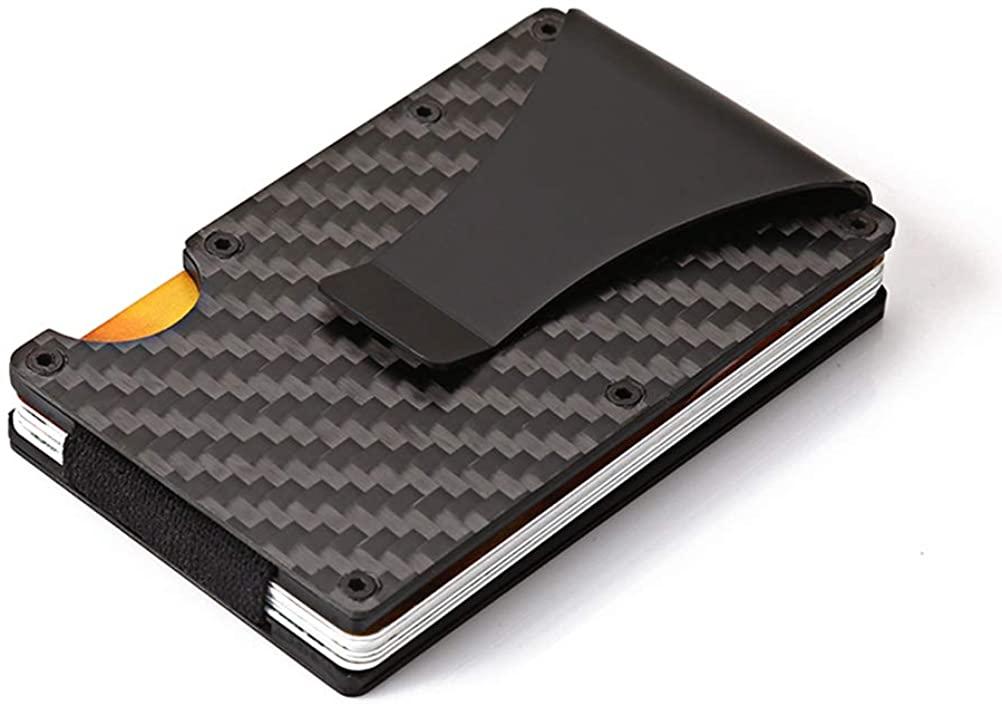 Slim Front Pocket Wallet, RFID Blocking Credit Card Holder of Carbon Fiber Wallet, Money Clip