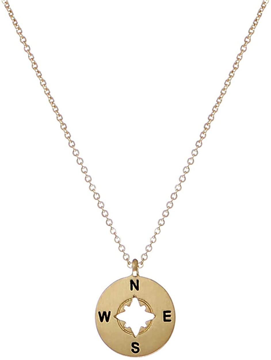 Florence Jewelers 14K Gold Plated Round Compass Pendant Necklace 16
