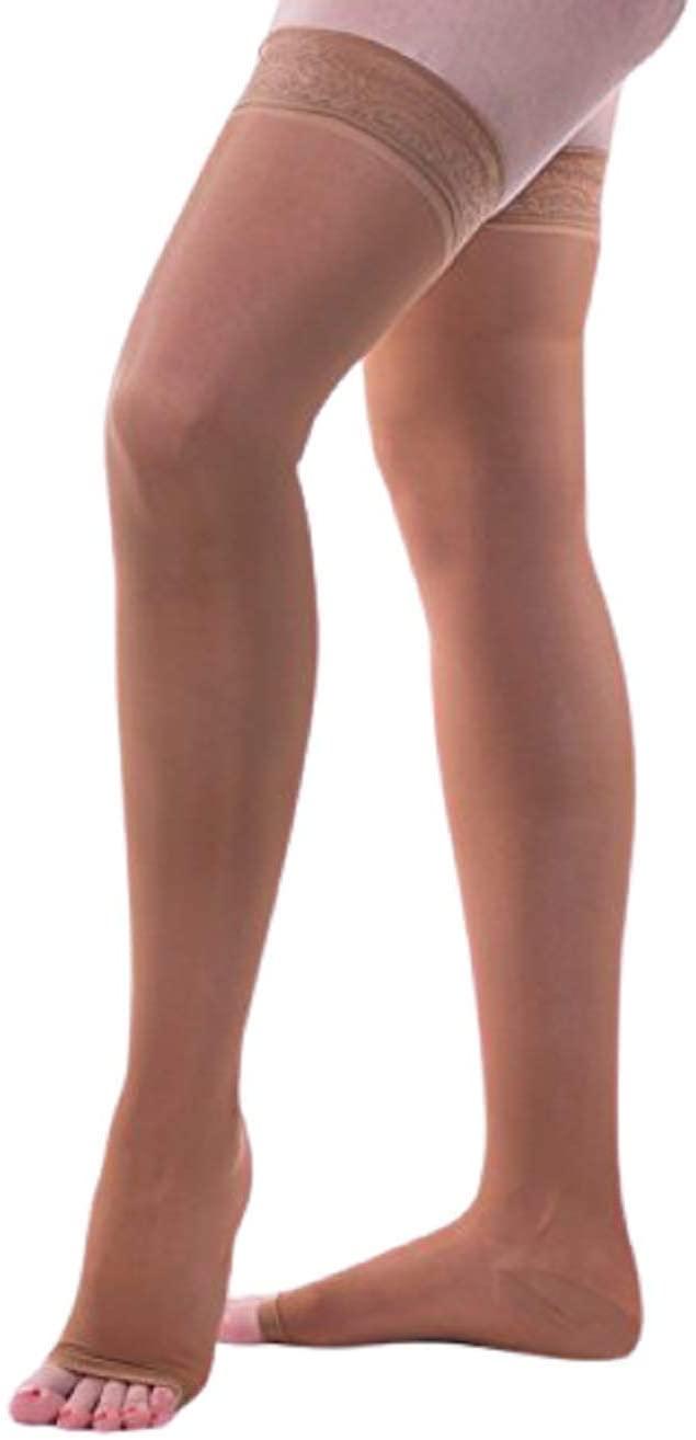 Allegro 20-30mmHg Essential 9 Sheer Support Open Toe Thigh High Hose (Fawn) Medium