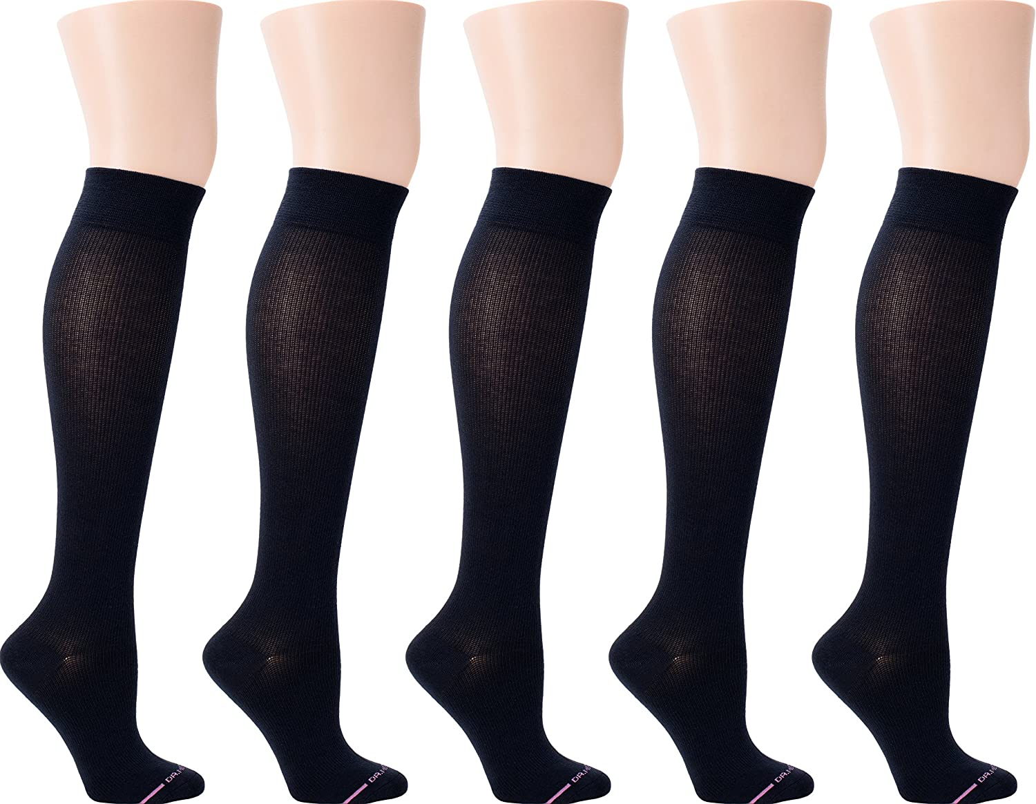 Dr. Motion Women's Compression Socks 5pair Pack (Cotton Solid Black)
