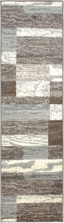 SUPERIOR Modern Rockwood Collection Rug Runner, Modern Area Rug, 8 mm Pile, Geometric Design with Jute Backing, Light Blue & Ivory, 2'6