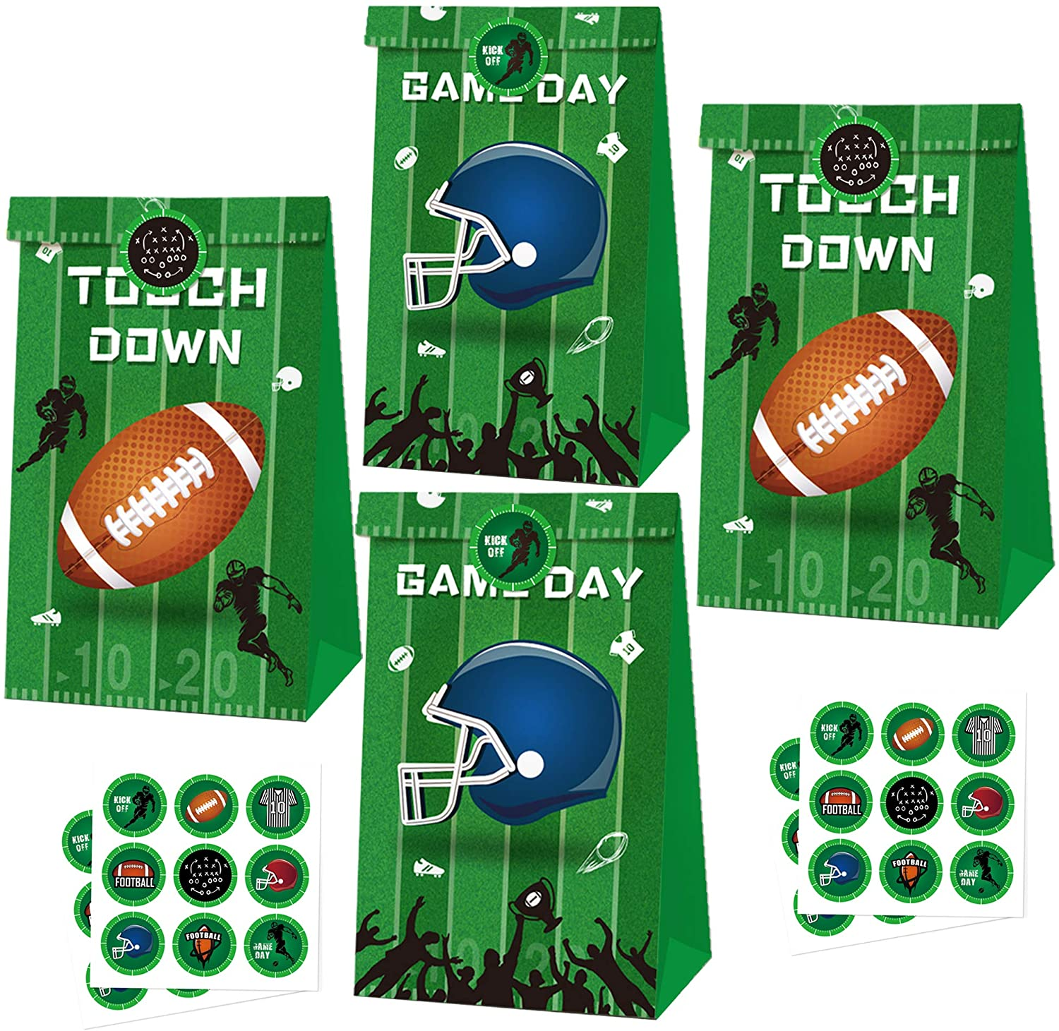 Football Party Bags Football Themed Party Supplies Super Bowl NFL Sport Party Favor Candy Treat Gift Bags Baby Shower Kids Birthday Decoration Supplies 24Pack with Stickers