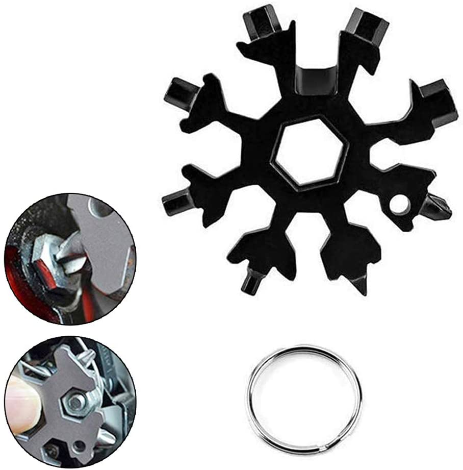 18 In 1 Snowflake Multi Tool,Portable Stainless Steel Wrench,Bottle Opener,Flat Phillips Screwdriver Kit,Pocket Snowflake Keychain Tool for Outdoor Camping,Travelling,Exploring (Black 1 PACK)