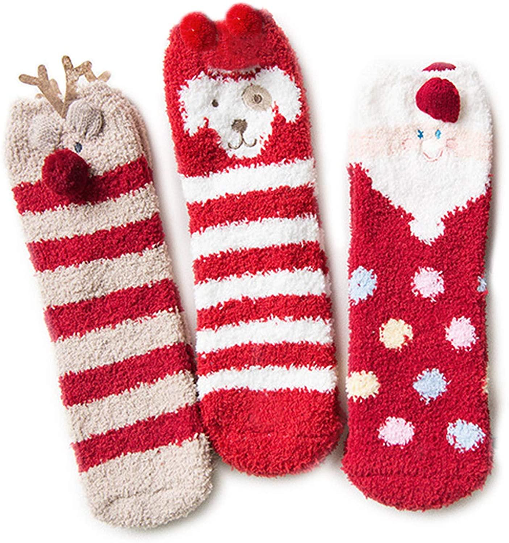 Leapop Women's Cozy Fuzzy Warm Plush Slipper Socks Animal Gift Box 3 Pairs Pack Christmas socks