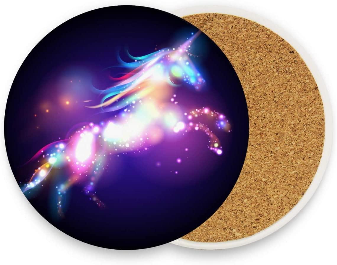 Starry Night Unicorn Ceramic Coasters Stars Magic Cup Holder Heat-resistant Drinks Cork Base 1 Unit