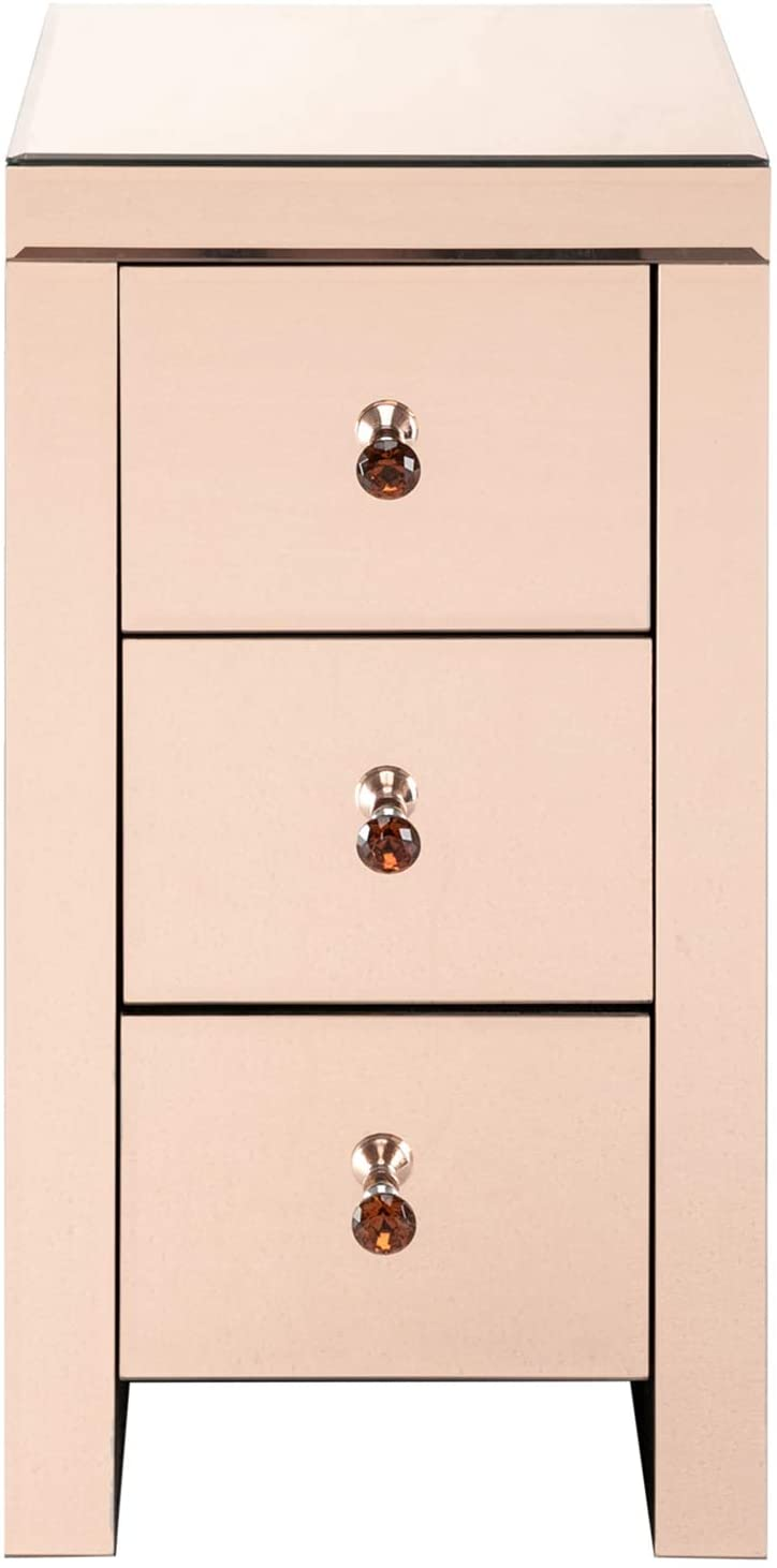 Exquisite and Multifunctional Bedside Table with Mirrored Glass & Three Drawers Rose