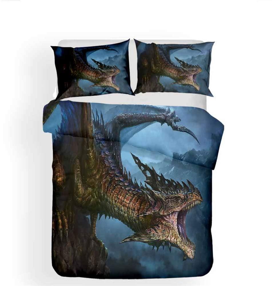 LanS Legendary Epic Monster Dragon 3D Duvet Cover Bedding Set, Duvet Cover and Pillowcase, 3 Piece Set Bedding (Duvet Cover + 2 Pillowcases) Lightweight/Soft/Do not Fade (G,Super King-220x260cm)