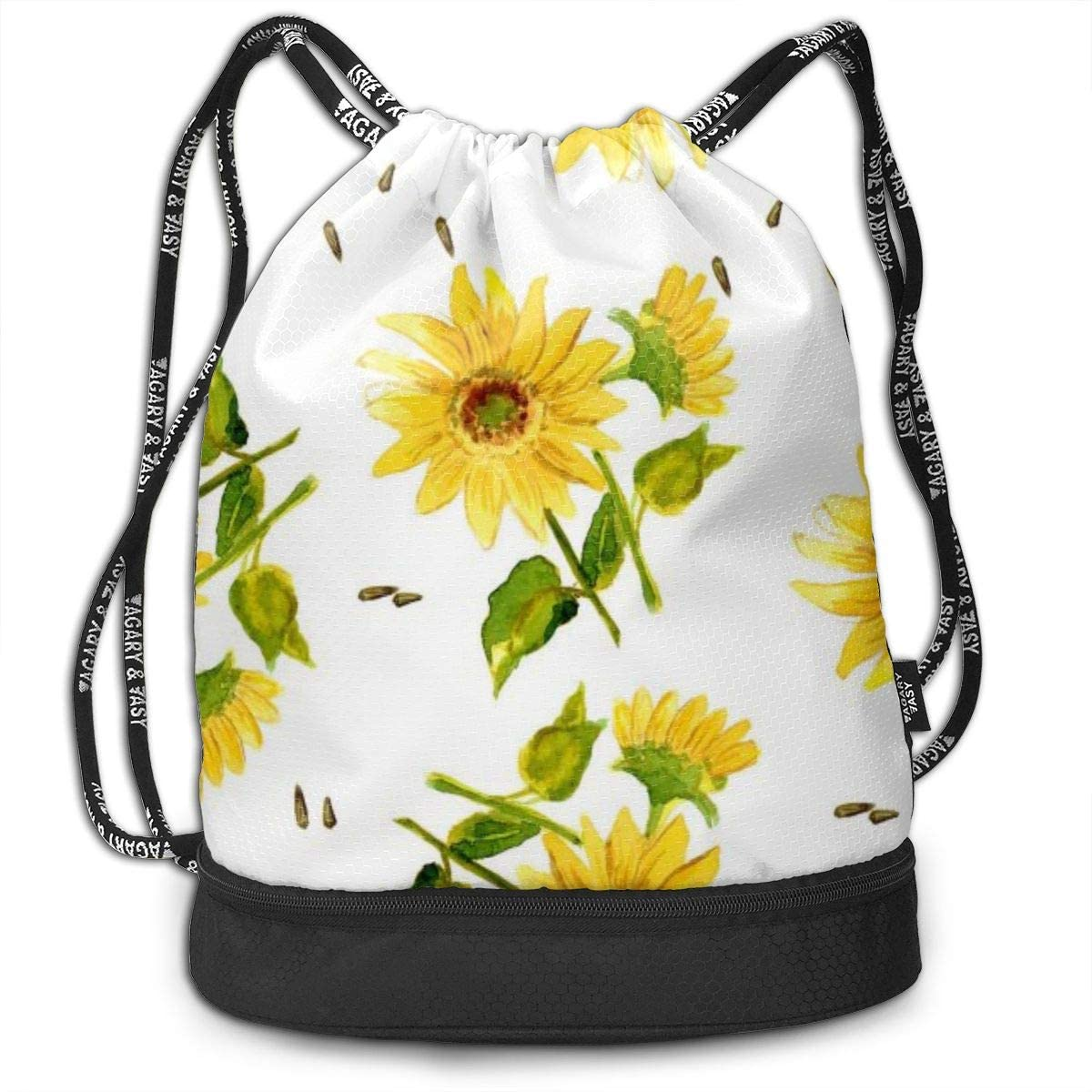 QSMX Durable Drawstring Backpack Nylon with Inside Pocket for Gym Sport Shopping Yoga Multi-Purpose for Men and Women Unisex Beautiful Cute Sunflower