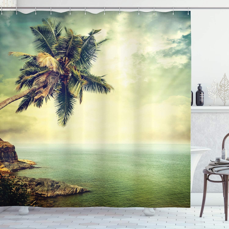 Ambesonne Hawaiian Shower Curtain, Palm Tree Rocky Shore Caribbean Mist Traveling Resort Scenic, Cloth Fabric Bathroom Decor Set with Hooks, 70