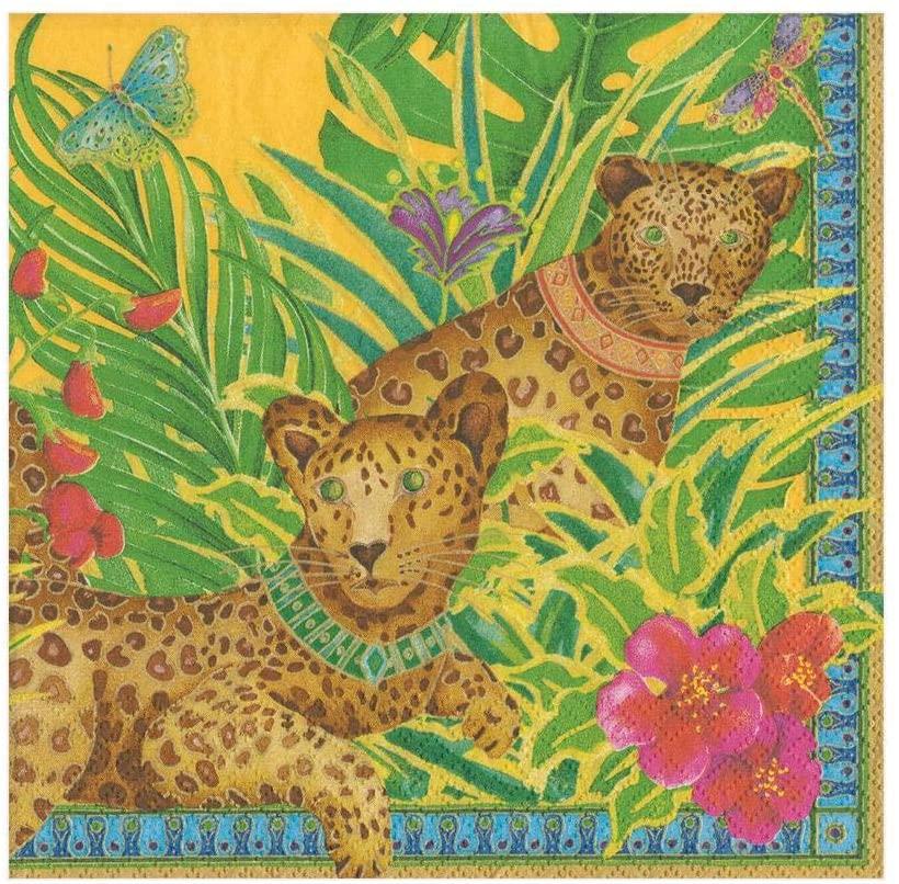 Caspari Leopards Paper Luncheon Napkins in Yellow - 20 Per Package