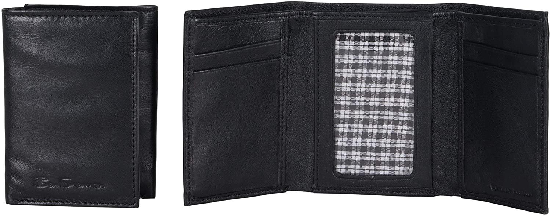 Ben Sherman Men's Manchester Slim Bifold Full-Grain Leather RFID Minimalist Gift Box Wallet