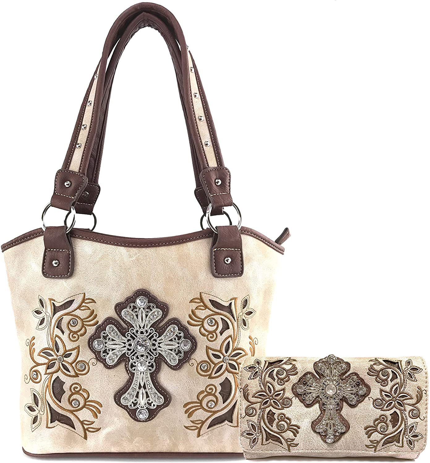 Justin West Western Rhinestone Cross Tote Purse Embroidery Floral Design Leather Concealed Carry Handbag