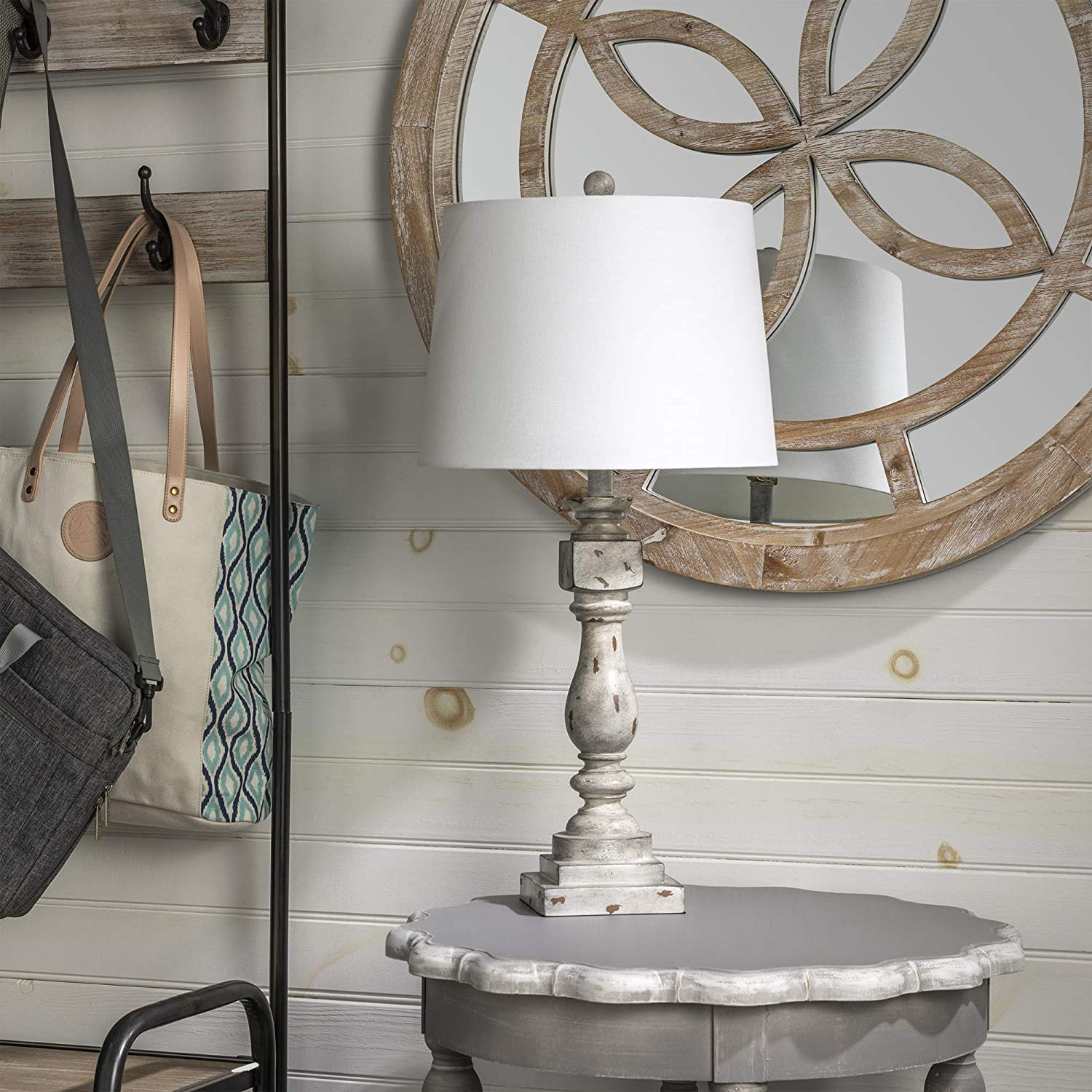 Crestview Collection Basie 29 Inch Distressed Gray Table Lamp for Living Room, Bedroom, and Home Office