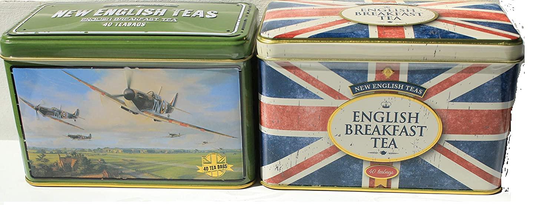 New English Teas Twin Pack: Battle Of Britain Spitfire Tin + Union Jack Tin
