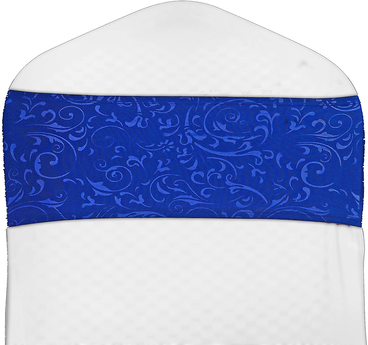 mds Pack of 1 Spandex Printed Chair Sashes Bow sash Elastic Chair Bands Ties with Buckle for Wedding and Events Decoration Lycra Slider Sashes Bow - Royal Blue