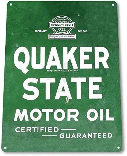 SRongmao Quaker State Motor Oil Logo Garage Shop Auto Gas Retro Wall Decor Metal Tin Sign 8x12in