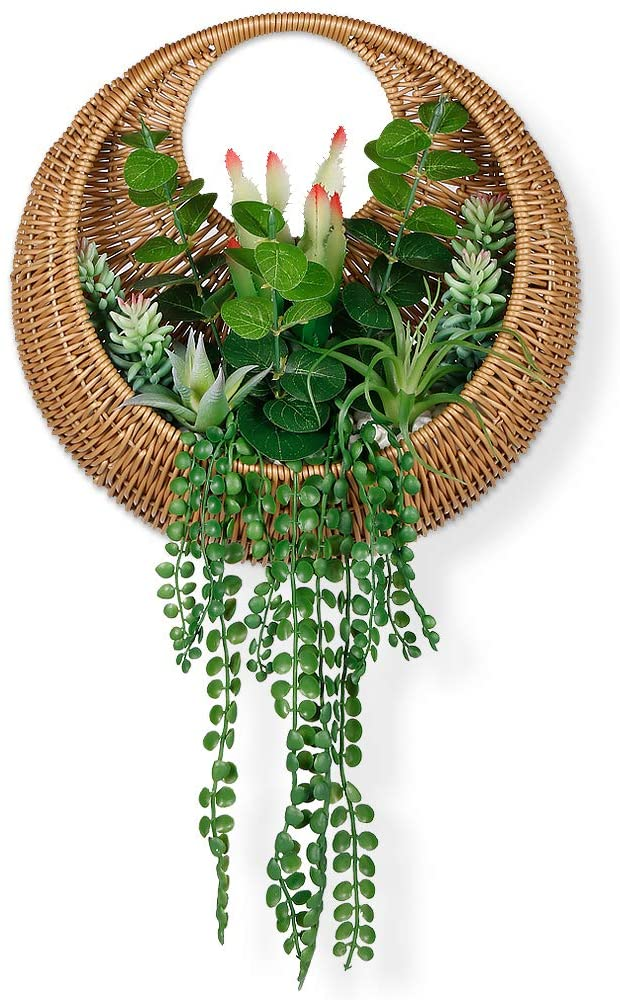 Keleer Mixed Green Succulents and Faux Bamboo Weaving Basket Wall Planter, Artificial Succulents Planted in Bamboo Basket for Door Wreath, Wall Decor, Faux Succulents Wall Plaque