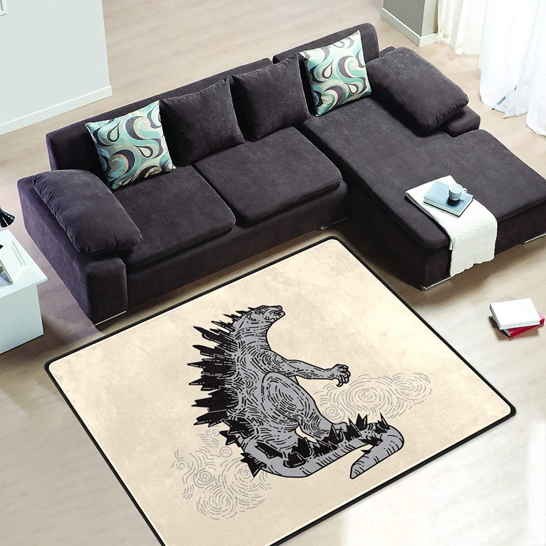Beige Godzilla Dinosaur 6' x 4' Area Rug Short Pile Velvet Modern Carpet Super Soft Mats Rectangle Floor Rugs for Bedroom Living Room Kitchen Home Decoration