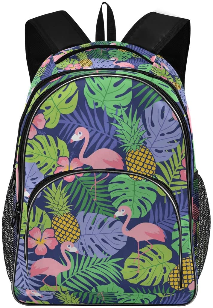 Kids Backpack Flamingo Pineapple And Tropical Leaf Three Layer Arc Bookbag for Boys Girls Elementary School Casual Travel Bag Laptop Daypack