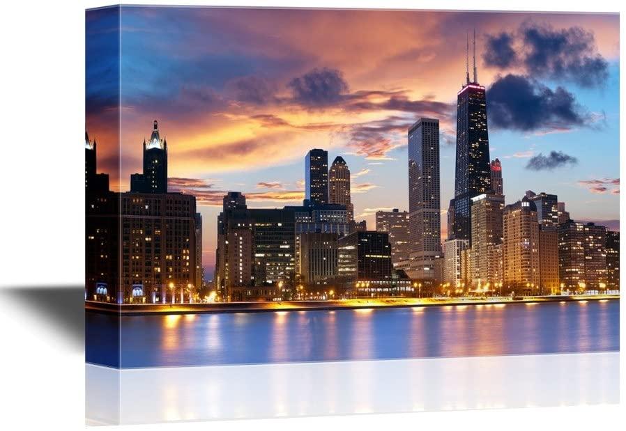 wall26 - Chicago Skyline at Dusk Gallery - Canvas Art Wall Art - 16x24