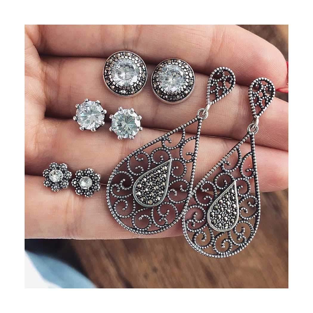 Drecode Vintage Silver Earrings Set Bling Crystal Rhinestones Stud Boho Flower Dangle Piercing Earring Set Jewelry for Women and Girls (4 Pairs)