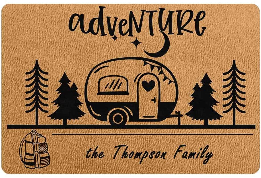 Artsadd Custom Door Mat Personalized Family Name Adventure Camping Durable Rubber Back Welcome Doormat 24 x 16 Inches Indoor Outdoor Rug Decor for Camper Trailer or RV