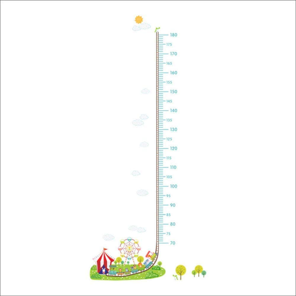 xmksd Cartoon Amusement Park Car Train Height Measure Wall Stickers Kids Rooms Decor Children's Growth Chart Wall Art Decals
