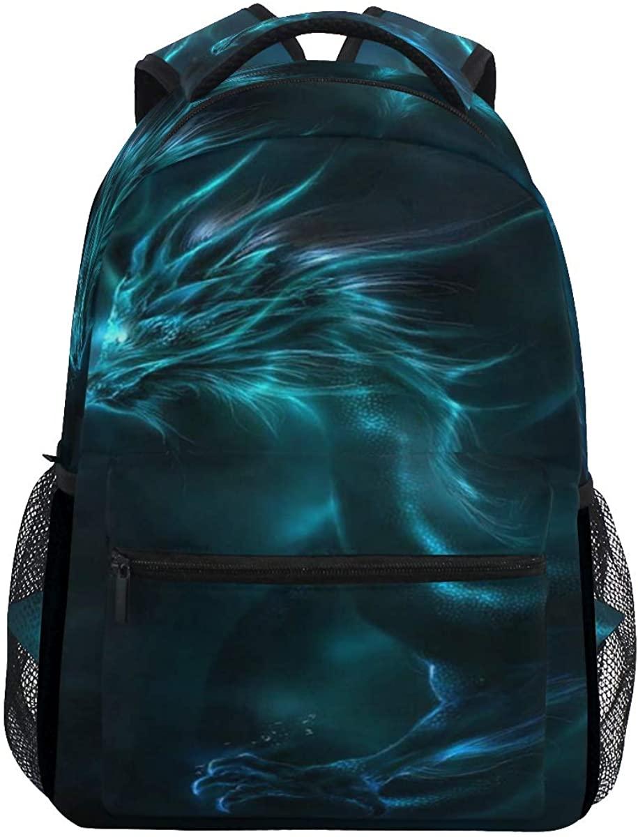 School Backpack Blue Dragon Bookbag for Boys Girls Teens Casual Travel Bag Computer Laptop Daypack