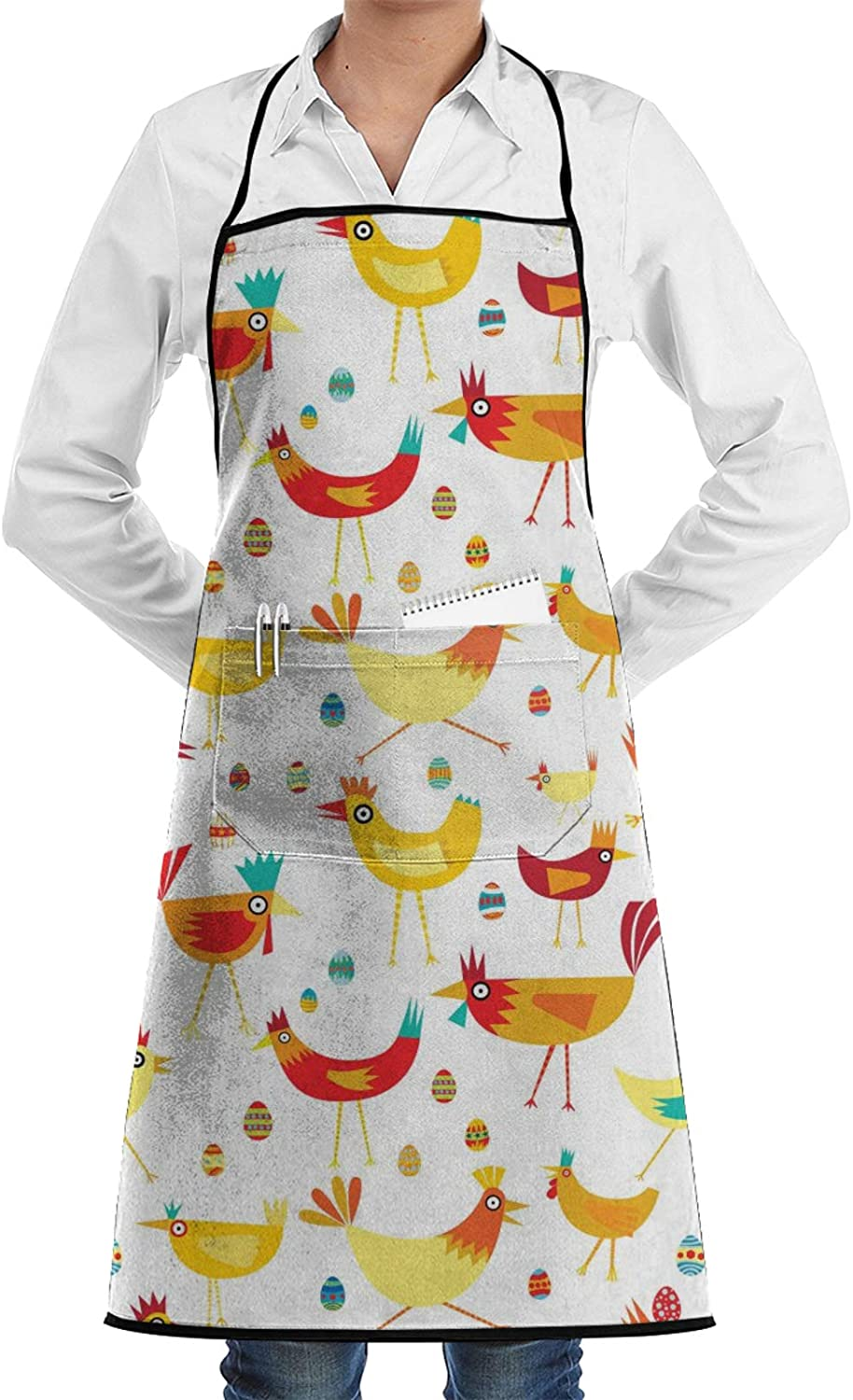 QSMX Bib Aprons Water Resistant Adjustable Kitchen Cooking Pocket Aprons Durable Chef Apron for Grilling Baking Gift for Halloween Christmas Colorful Chickens with Eggs