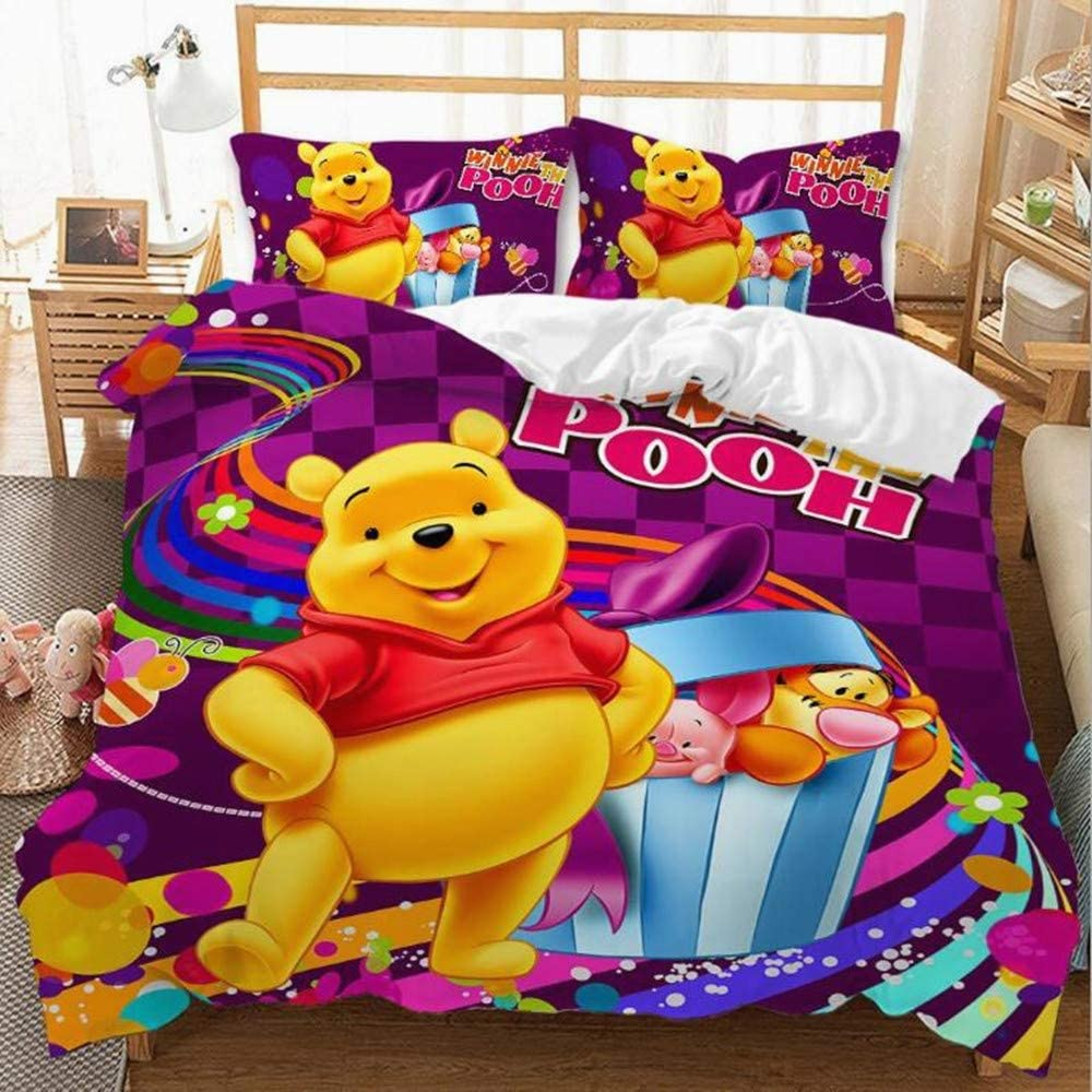 Viuseay Winnie The Pooh Bedding Set Cute Pattern Duvet Cover Set for Kids Boys Girls Comforter Cover Twin Size,3 Pieces