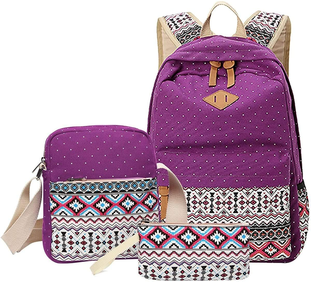SQINAA School Backpack Canvas Bookbag with Shoulder Bag and Pencil Case for Girls Multifunctional Practical Backpack,Purple