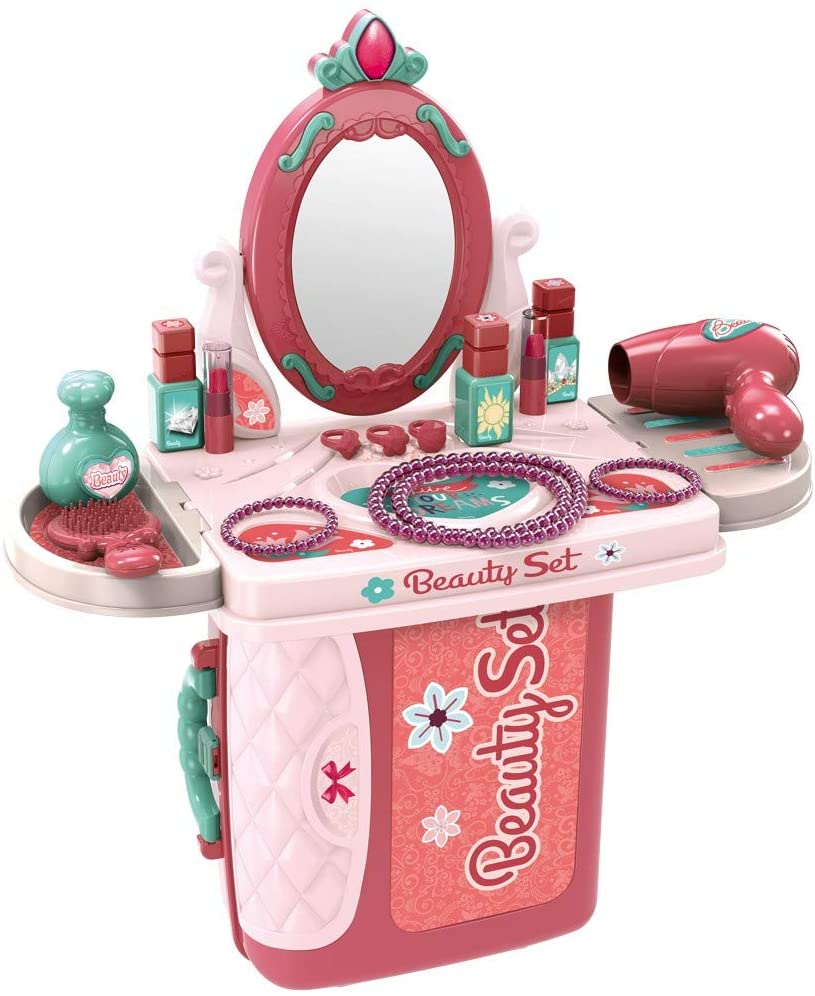 Giveyo Toddler Beauty Dresser Table Play Set, 2 in 1 Vanity Pretend Play Dressing Table & Suitcase Beauty Make Up Sets with Fashion & Makeup Accessories for Girls (Multicolour, US Direct)