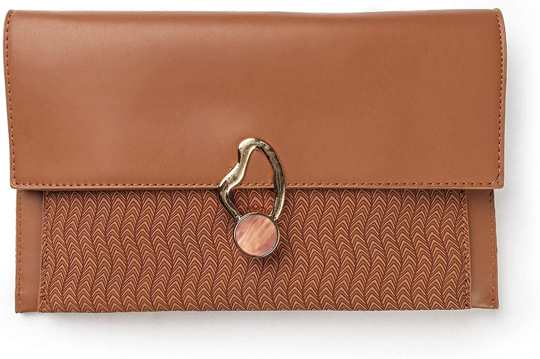 M Retail Premium Collection Women's Leather Push-Lock Crossbody Handbag Wristlet Wallet Clutch Bag