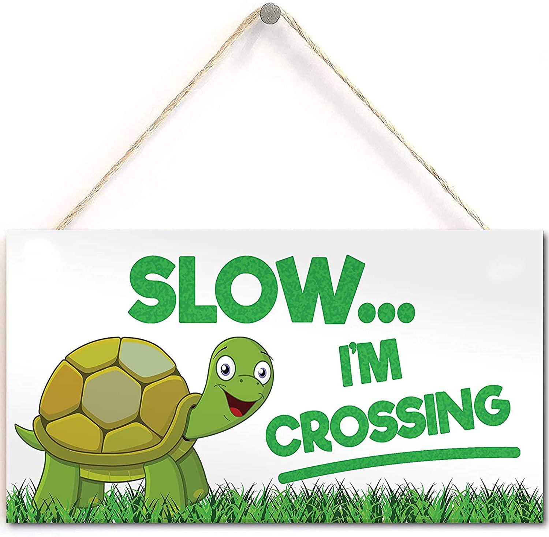 Slow I'm Crossing Turtle Tortoise Hanging Plaque Reptile Garden Tank PVC Sign
